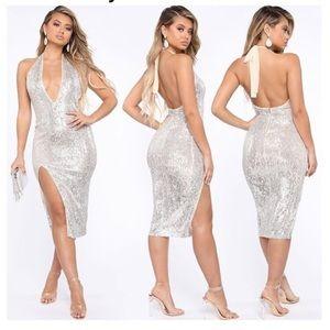 NWT Fashion Nova Shine Down On me Midi dress